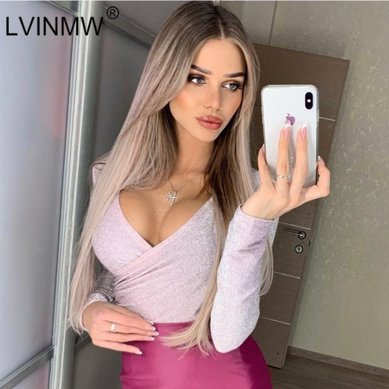 Women's Clothing Lvinmw Sexy Reflective Shine Cross Skinny Bodysuits 2019 Spring Women Long Sleeve Deep V-neck Short Jumpsuits Romper Party Club Relieving Heat And Sunstroke