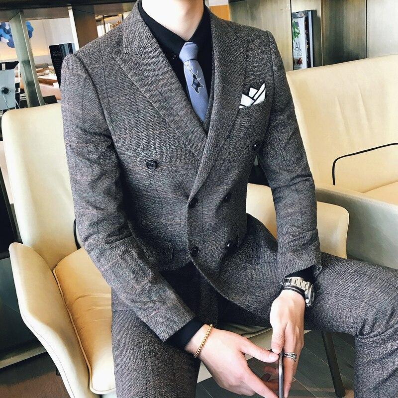 Erkek Kıyafeti'ten T. Elbise'de Ceket + Pantolon Erkekler Butik Moda Kafes Iş Rahat Kruvaze resmi kıyafet/Damat düğün elbisesi Ekose Takım Elbise 2 Adet'da  Grup 1