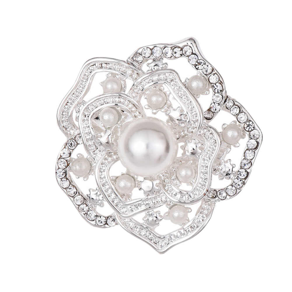 Romantic Simulated-pearl Brooch Pin For Woman Rhinestone Crystal Hollow Out Gold Color Brooches Pins Dress Sweater Jewelry