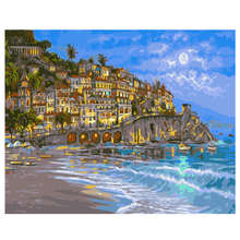 Paint By Number,Abstract Picture,Night Beach,Canvas Painting Coloring Numbers