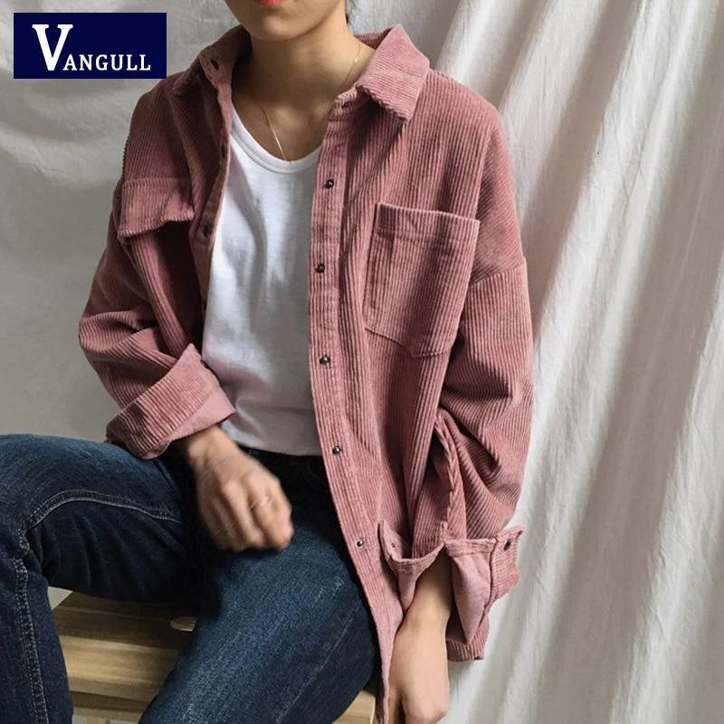 New Harajuku Corduroy Jackets Women Winter Autumn Coats Plus Size Overcoats Female Big Tops Cute Jackets