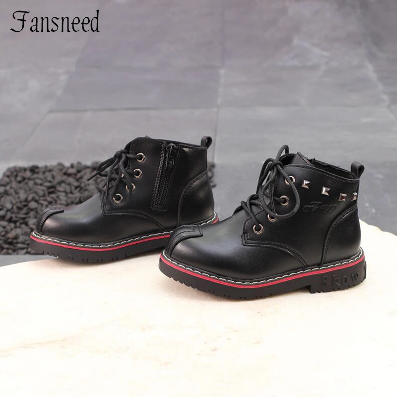 Autumn Winter Boys Girls Martin Boots Baby Boys Rivets Boots Childrens Genuine Leather Boots