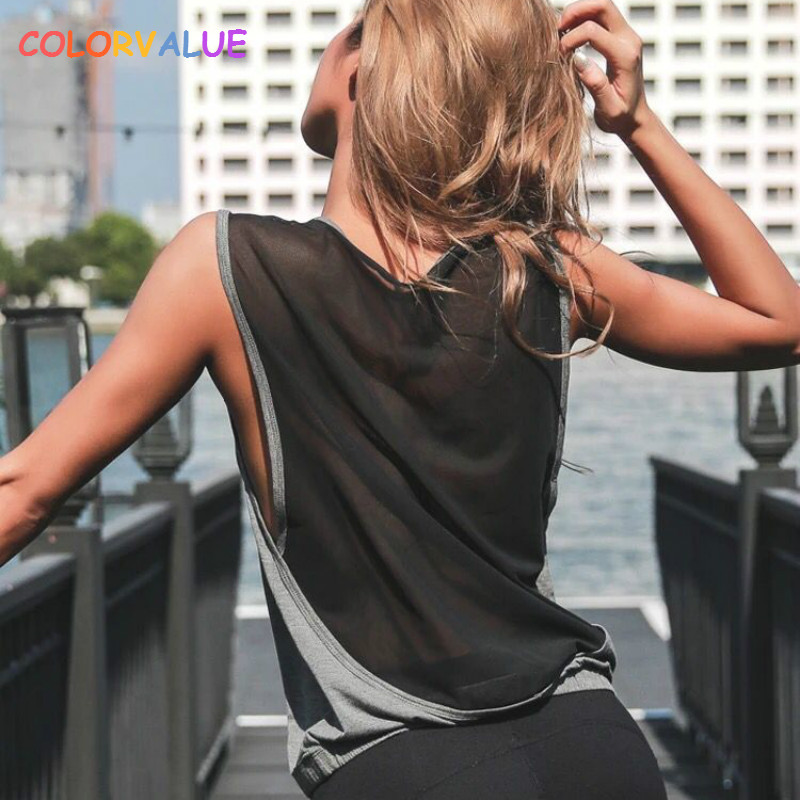 Faithful Colorvalue Mesh Patchwork Fitness Sport Tank Tops Women Anti-sweat Loose Athletic Fitness Vest Quick Dry O-neck Running Gym Top Volume Large Vests Sports Clothing