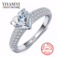 Fine Jewelry Solid Silver Rings For Women Real 925 Silver Wedding Rings Set Heart SONA CZ Diamant Engagement Ring Jewelry AR048