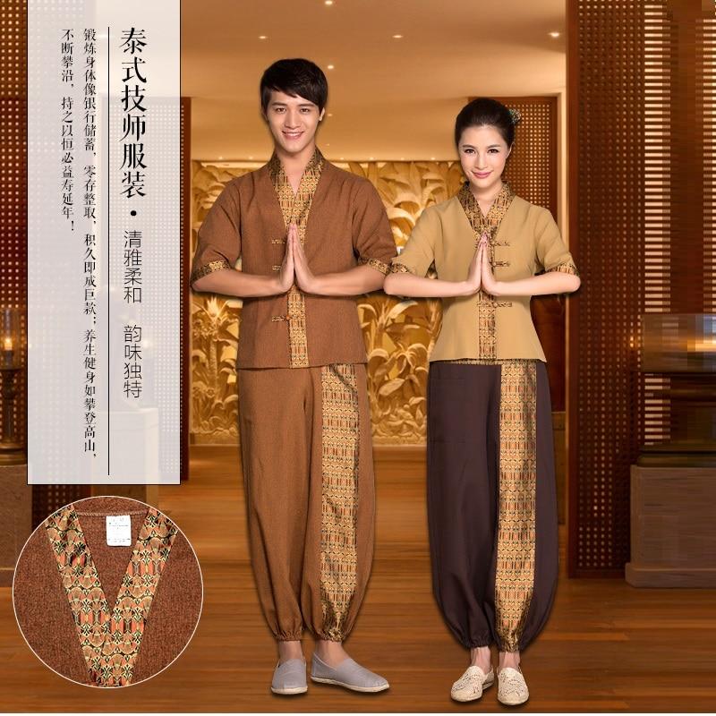 (10 Set/shirt&pant)Summer Male Thai Massage Health Uniforms Foot Bath Workwear Technician Work Clothes SPA Club Thai Bathing Man