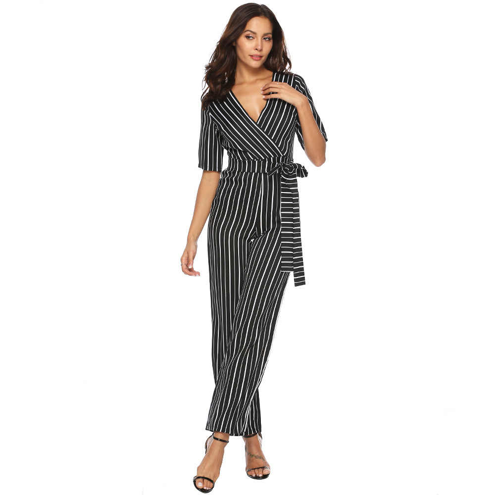 elegant v neck striped office rompers womens jumpsuit plus size summer casual one piece pants overall combinaison pantalon A2481