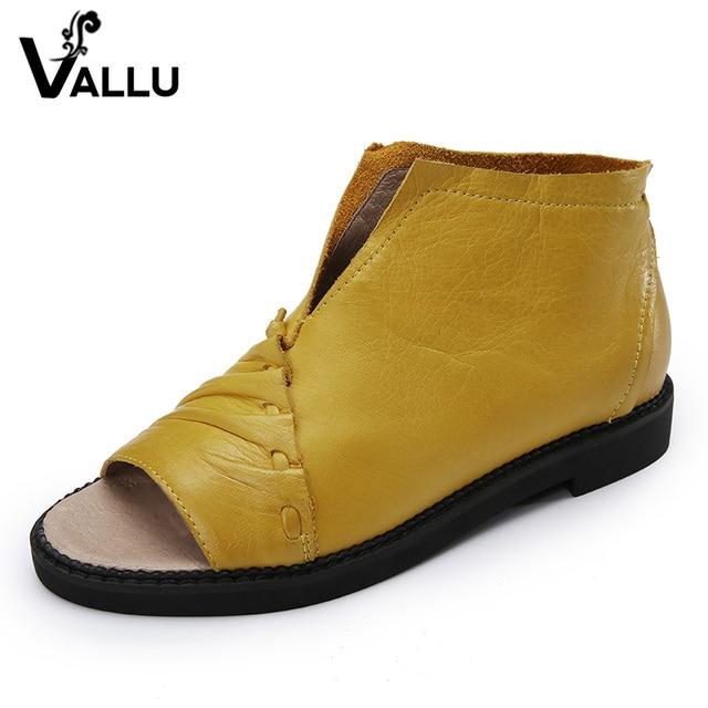 VALLU Shoes Woman 2017 Genuine Leather Women Sandals Flat Heels Peep Toe Retro Handmade Summer Shoes
