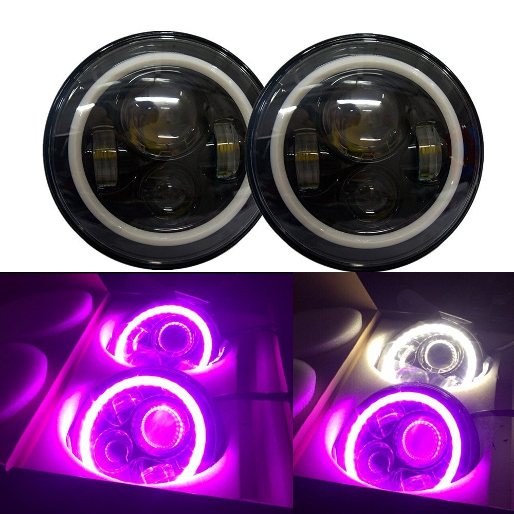 2PCS 7'' Round 40W LED Projector Headlights Halo ring Pink turn signal light Front Head Lights for Jeep Wrangler JK CJ