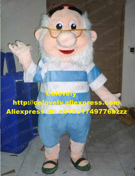 Lively Blue Old Man Mascot Costume Mascotte Captain Hook Peter Pan Adult With Big Red Hat White Bushy Beard No.2789 Free Ship