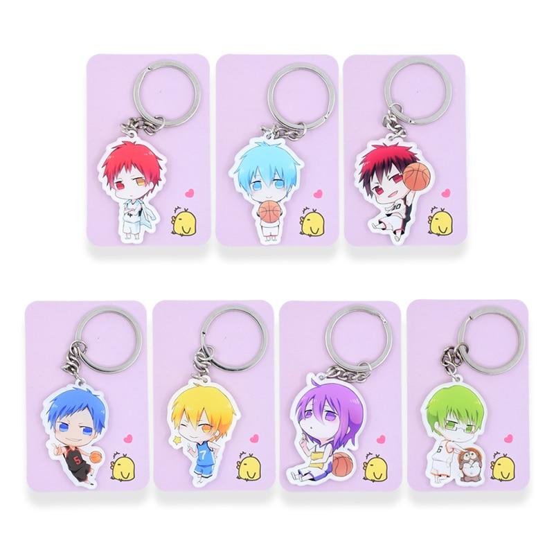 Kurokos Basketball Keychain 13 Styles Kuroko Tetsuya Key Chains Pendant Hot Sale Custom made Anime Key Ring PSS229-373