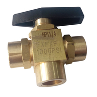 Brass 3 Way Ball Valve 1/4 Female NPT 1000 PSI BV4 1/4