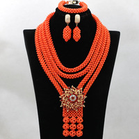 Luxury Handmade Coral Beads Statement Necklace Set Nigerian Wedding African Beads Jewelry Set Free Shipping CNR514
