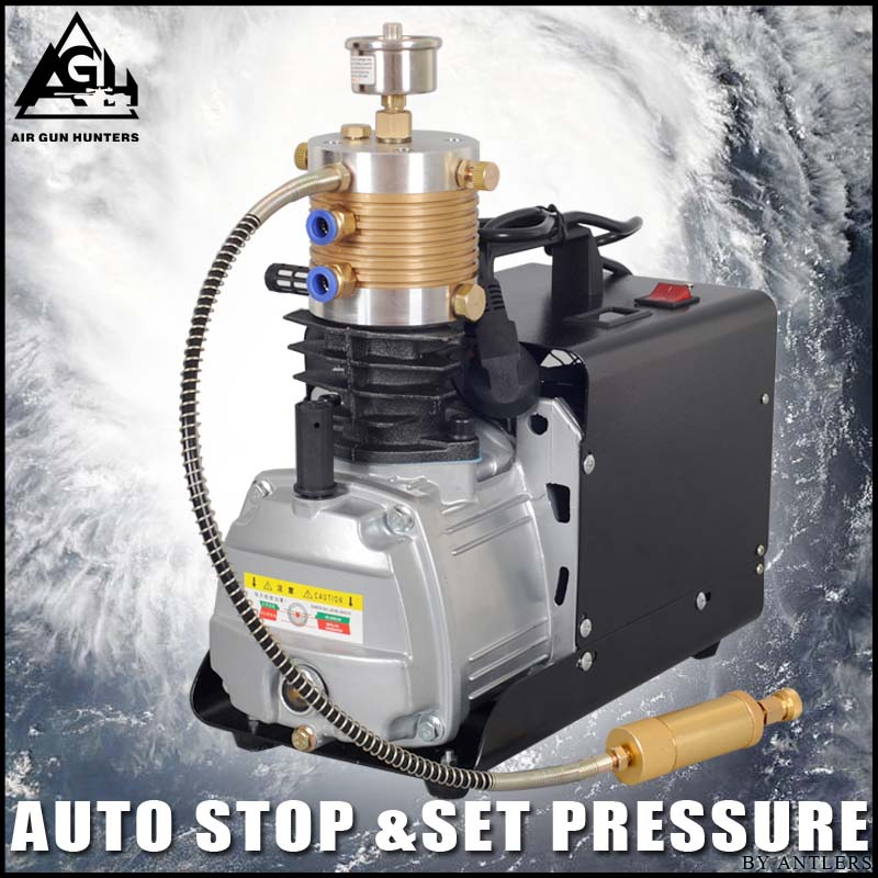 4500PSI High Pressure AUTO STOP Electric PCP Compressor Reciprocating Air Pump for Pneumatic Airgun Scuba Rifle PCP Inflator automatic stop double cylinder pcp electric air pump 220v 50hz high pressure paintball air compressor with breath filter
