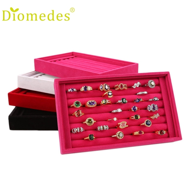 3a93cc87a Diomedes 1PC Box Full Velvet Ring ewelry Earrings Ring Jewelry Box Tray  4color (NO Earrings only BOX) Gift #0220