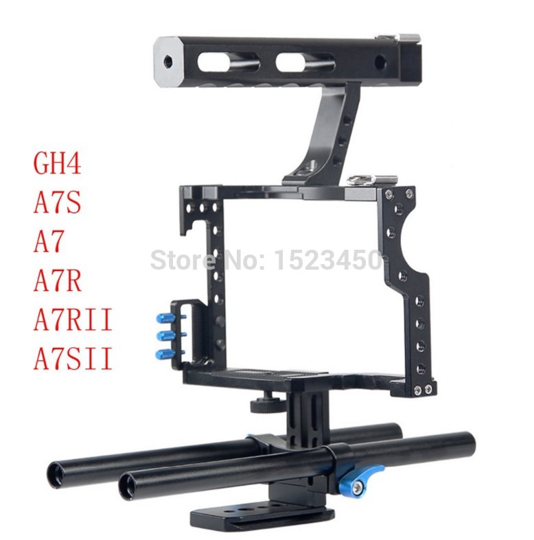 15mm Rod Rig DSLR Video Camera Cage Kit Stabilizzatore + Top Handle Grip per Sony A7 II A7r A7s a6300 A6000 Panasonic GH4 GH5 A9 A73
