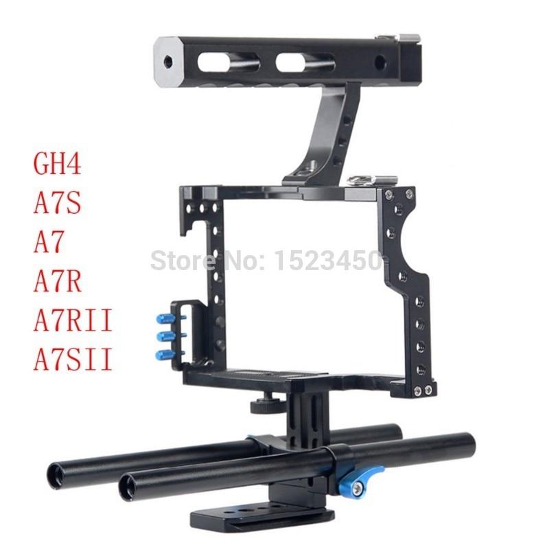 15mm varilla Rig DSLR cámara de vídeo Cage Kit estabilizador + Top Mango para Sony A7 II A7r A7s a6300 A6000 Panasonic GH4 GH5 A9 A73