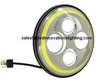 Бесплатная доставка желтый гало IP67 30 Вт 7 дюймов автозапчастей рынок мычка лица OSROM из светодиодов с низким и высоким луч света с DRL оптовая п