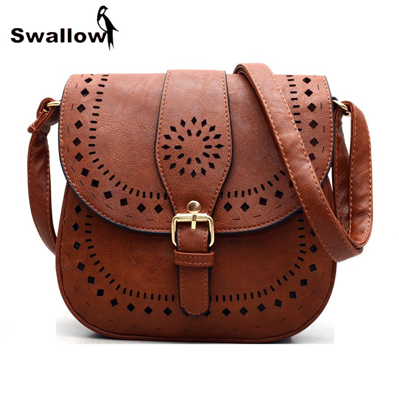 Newest Hollow Out Leather Women Saddle Bag Vintage Shoulder Bags Retro For Female Famous Designer Small Crossbody In From