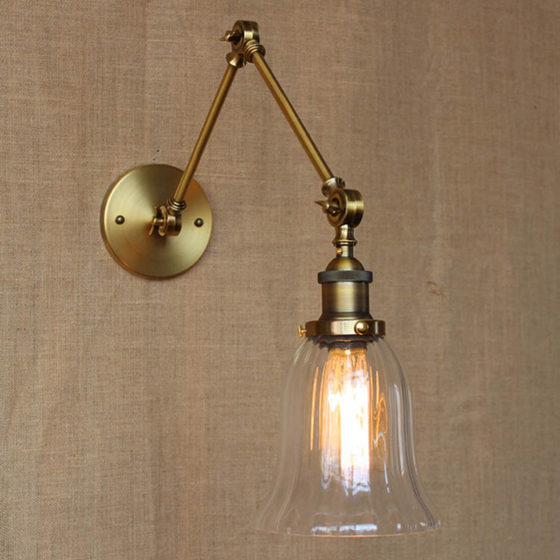 ФОТО arms vintage Wall lamp brass LOFT industrial wall sconce light Long knobs Iron flexible bar Cafe Aisle Hall Project wall Lamps