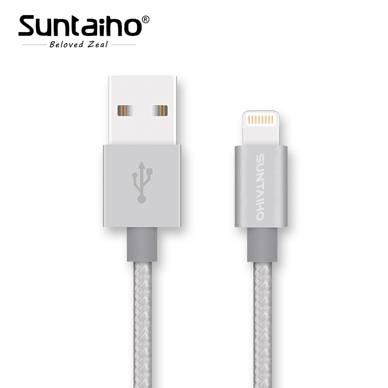 for MFi iPhone Cable Suntaiho 2.1A Metal Nylon Braid Fast Mobile Phone Lighting to USB Charger Data Cable for iPhone 7 6 iPad