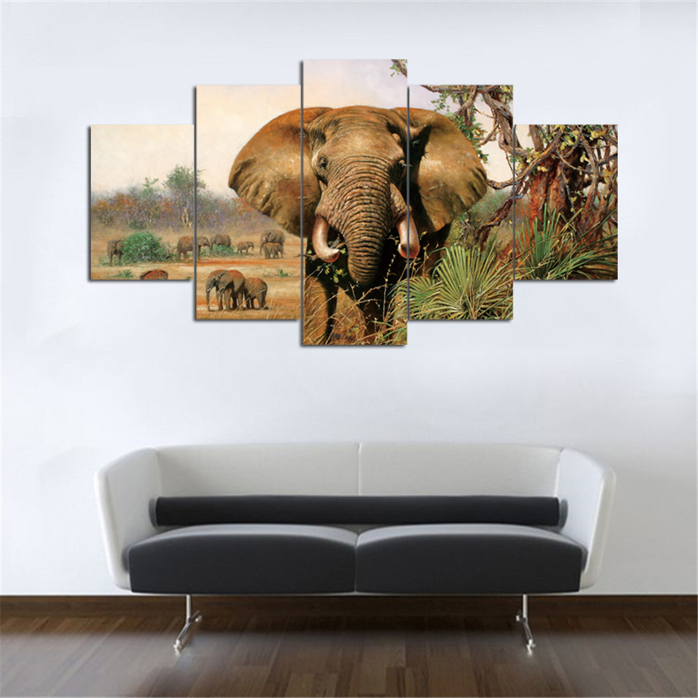 Wall art elephant - Drop Shipping 5 Piece Canvas Art Elephant Canvas Painting Art Wall Art Canvas Prints Home Decoration Unframed Oil Painting In Painting Calligraphy From