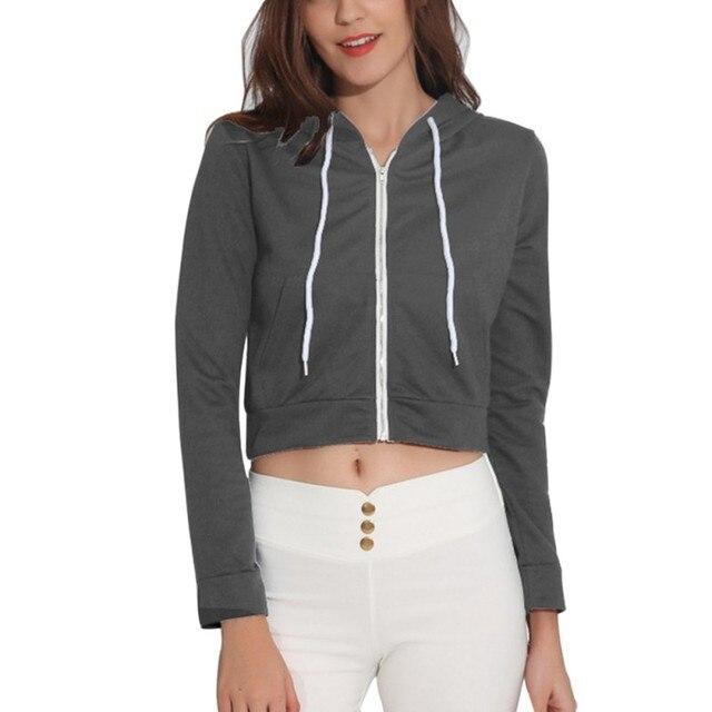 5da0a61623b Cropped Hoodies Women Sweatshirt Tops Crop Top Long Sleeve Zipper Jacket  Autumn Hoodies Jumper