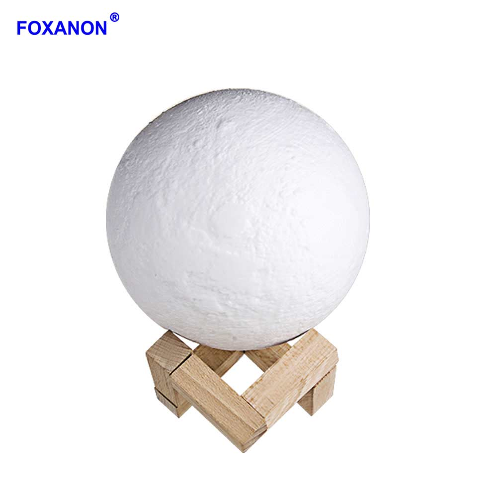 Rechargeable 3D Lights Print Moon Lamps 2 Color Change Touch Switch Moon Light Bedroom Led Table