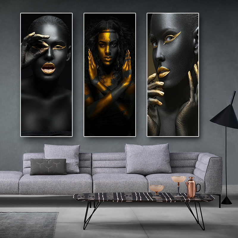 Toile Art mural noir et or africain femme nue peinture affiches et impressions image scandinave pour salon décor
