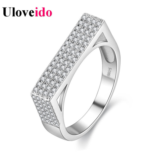15% Off Uloveido Rhinestone Rings for Women Silver Color Wedding Triumphal Arch Ring with Stones Female Jewelry Bague PJ4289