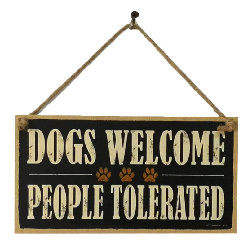 10*20CM Wooden Door Sign Board Retro Hanging DOGS WELCOME/Busy at Work Farmhouse Art Wood Chip Reminder Door Decor Pendant Board ...
