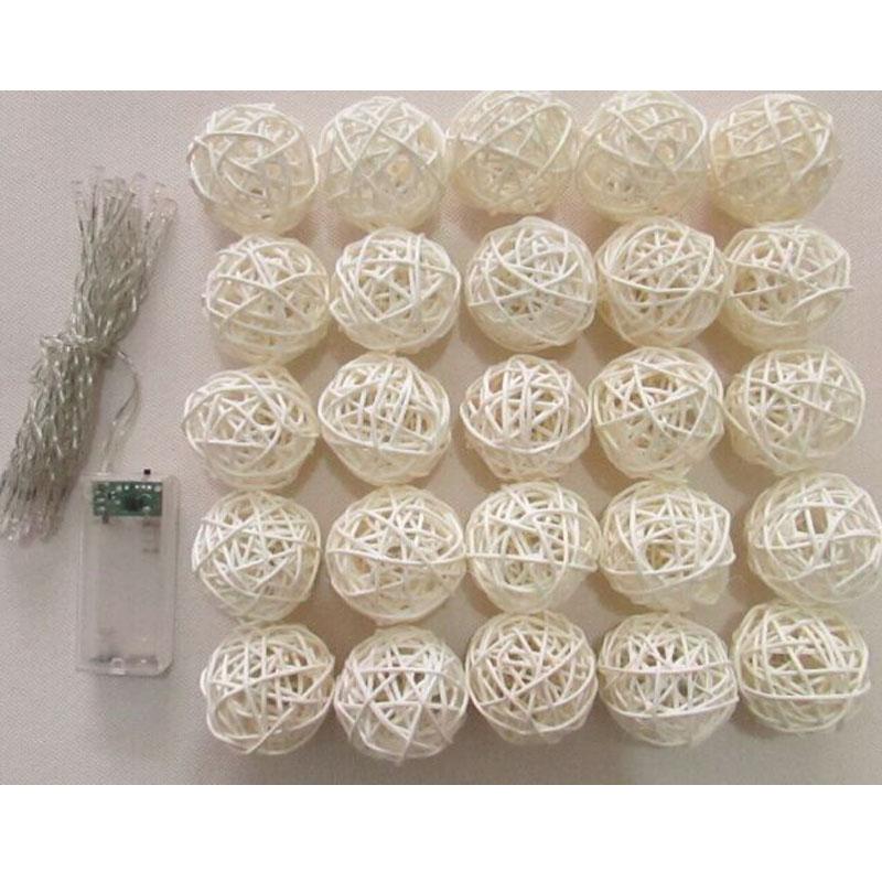 20pcs dia.5cm blanco o colorido Rattan Ball LED String Lantern con - Para fiestas y celebraciones