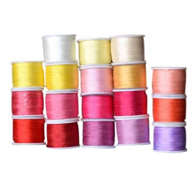 Теплые Цвета, 2 мм 1/16 дюймовый 100% чистый шелк тутового лента для Вышивка ручной работы двусторонний тонкой шелковой тафты отделкой