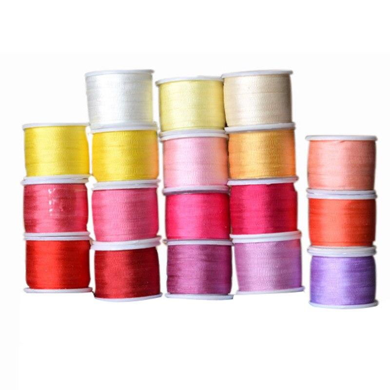 Теплые цвета, ширина 2 мм, 1/16 дюйма, 100% чистого шелка тутового шелкопряда для вышивки ручной работы, двухсторонняя тонкая тафта, шелковая отд...