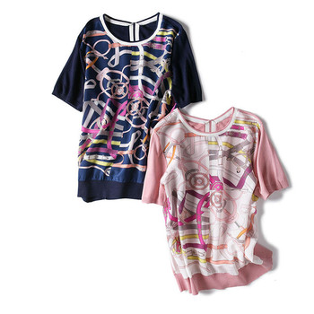 pure silk spliced women fashion printed tshirt short sleeve tees Oneck tops pink 2color M/L retail mix bulk sale