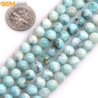 Gem inside Natural Round Smooth Blue Larimar Beads For Jewelry Making Beads DIY 15inches Christmas Gift