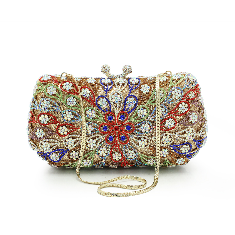 New arrival flower pattern hot selling women hollow out bag bag evening party clutch bags wedding purses(88197A-BR)