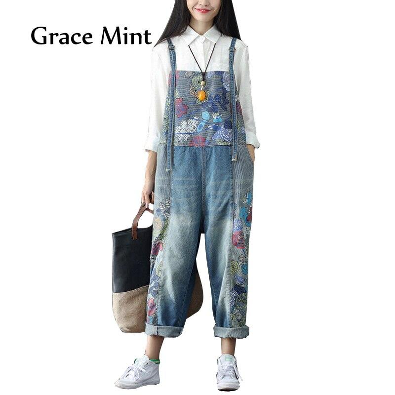 2018 Для женщин широкие брюки джинсы полной длины свободные Джинсовые комбинезоны промывают печати рваные комбинезоны