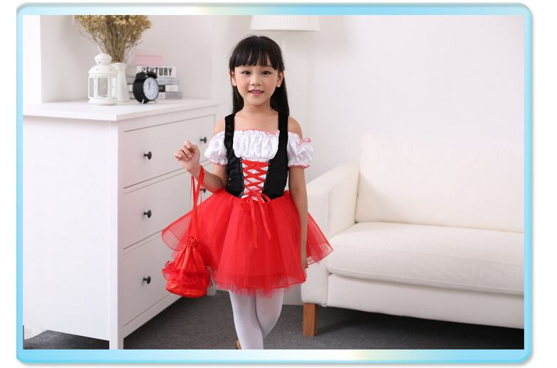 CaGiPlay girl Halloween Little Red Riding Hood cosplay costume Kids Party  Dress Cinderella Princess Party Performances Dress