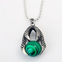 Natural Green Stone Dragon Claw Neclkace 2