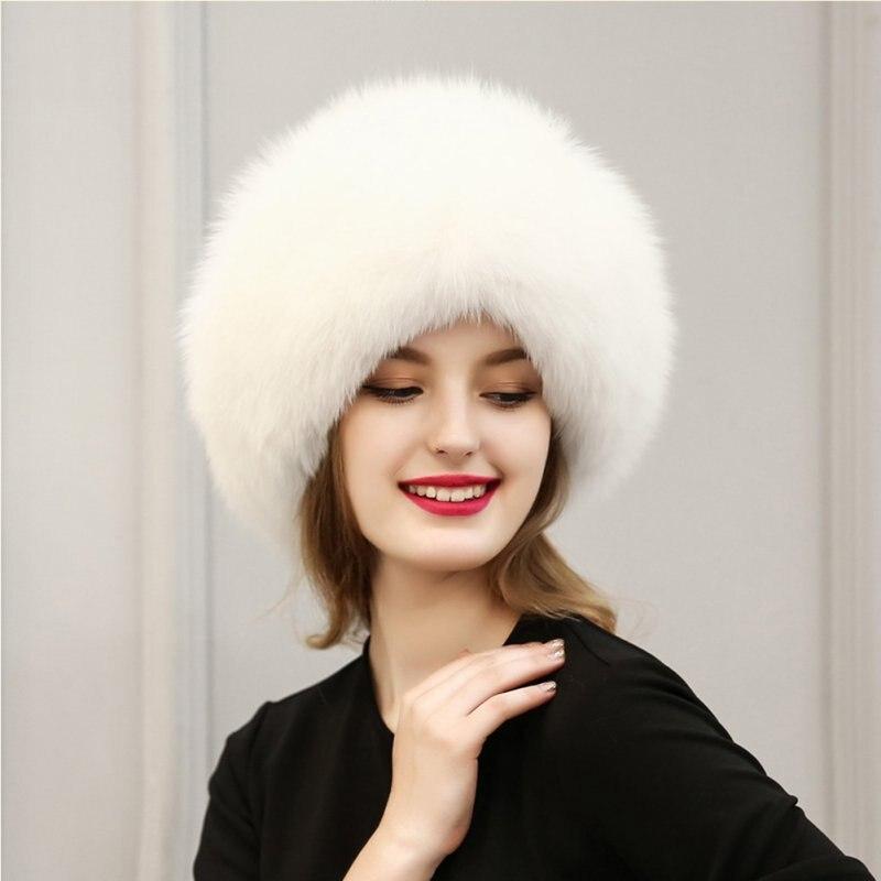 النساء الشتاء الدافئ جديدة أناقة الفراء القبعات الدافئة قبعات النساء قبعة الثعلب الفراء الكرة 3 لون