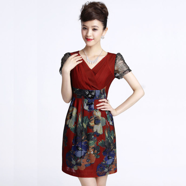 2013 new fashion Mid waist slim v-neck  fancy print short-sleeve basic  women's silk dress plus size 0258001308