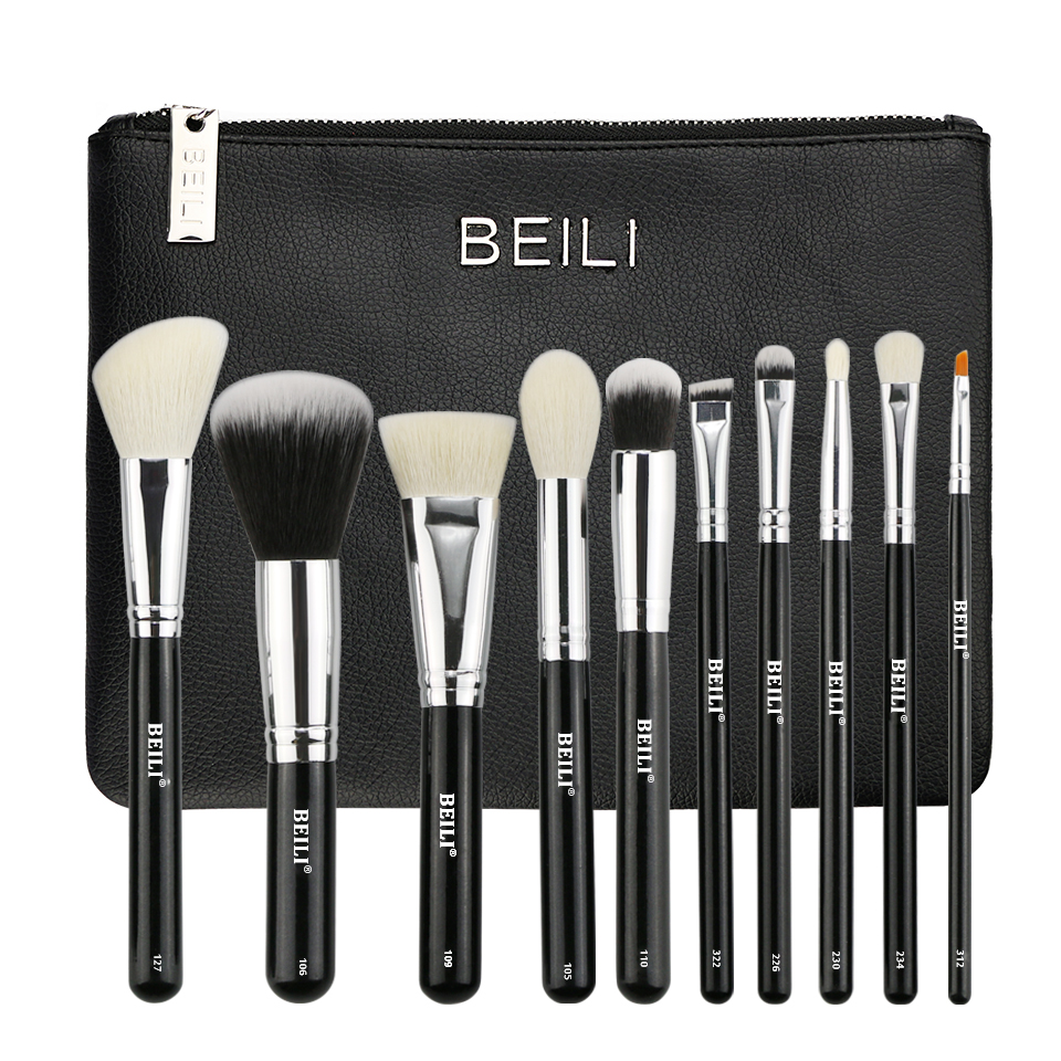 BEILI 10 pieces Black goat hair Synthetic Powder Foundation blusher eye shadow Concealer Basic Makeup brushes set Cosmetic bag cosmetic makeup 24 color eye shadow 3 color grooming powder 3 color blusher palette black