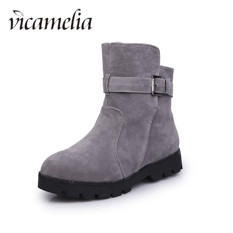 Vicamelia 2019 Winter Korean Snow Boots Flat Heel Women Short Boot Fashion Solid Buckle Non Slip Cotton Fur Shoes Plus Size 845