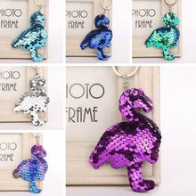 Colorful Sequins Flamingo Keychain Charms Paillette Pendants Bird Keyring DIY Mermaid Keychain Jewelry Accessories(China)