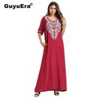 GuyuEra Hot African Fashion Bazin Dashiki Embroidered Short sleeved Dress Long Skirt