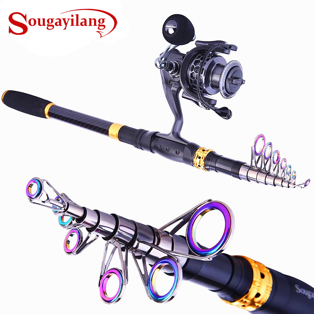 Sougayilang 1.8-3.3m Telescopic Fishing Rod and 5.1:1 Fishing Reel With Free Coil Sets Portable Carp Carbon Spinning Rods Combo