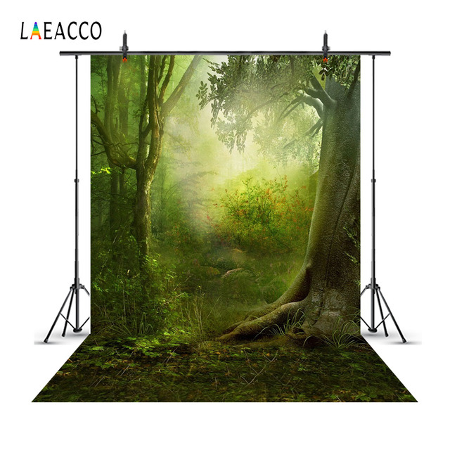 Laeacco Fairytale Forest Trees Scene Baby Children Photography Backgrounds Customized Photographic Backdrops For Photo Studio