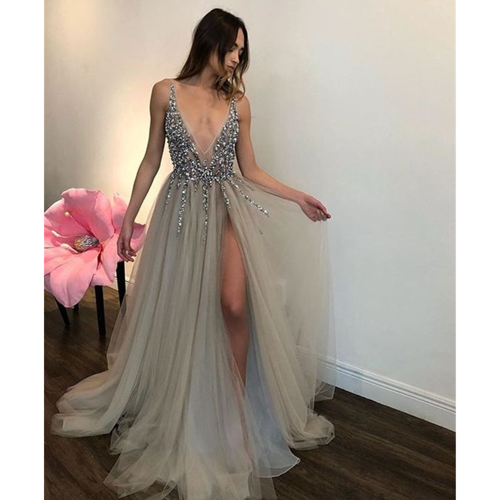 Sexy Backless Tulle   Evening     Dress   Hot Selling Sliver Beading High Split Deep V Neck A Line Long Prom Gowns 2019 Robe De Soiree
