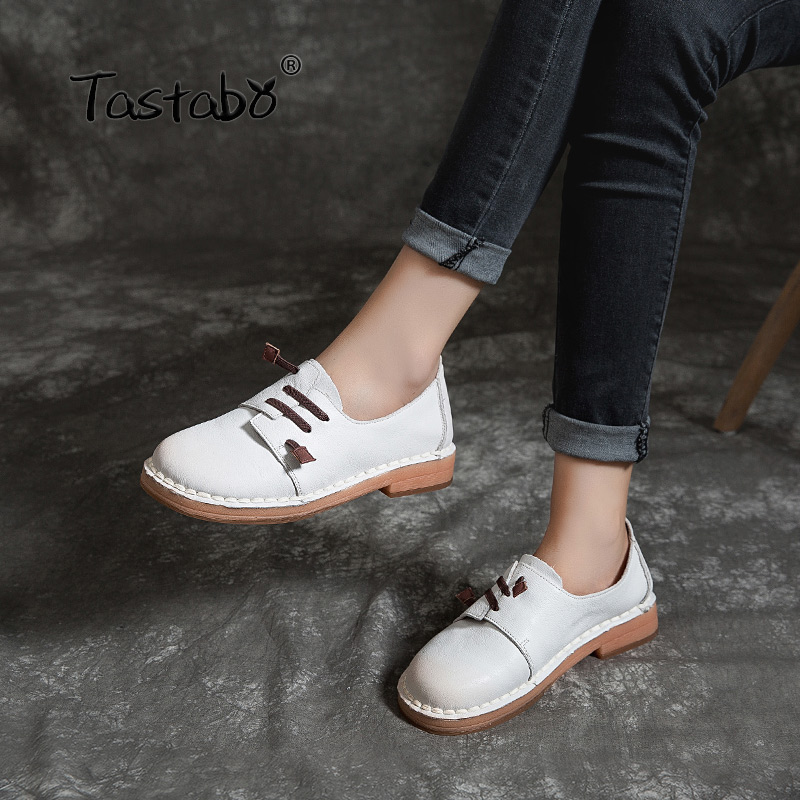 Tastabo 100%Genuine Leather Women's Shoes Pigskin Insole Design White Blue Yellow Casual Style Low Heel Shoes S1915 Soft Sole
