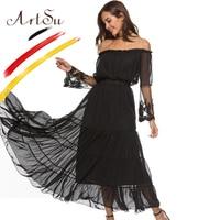 ArtSu Sexy Off Shoulder Black Maxi Dress Summer Long Lace Sleeve Chiffon Dress Boho Beach Vestido Pleated Women Hem Casual Dress